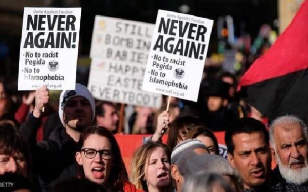 احتجاجات في بريطانيا ضد مسيرة بيغيدا المعادية للإسلام