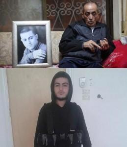 سعيد مسلم، والد القتيل محمد، البادي بصورة في الاطار، كما في ثانية وهو مسلح مع التنظيم