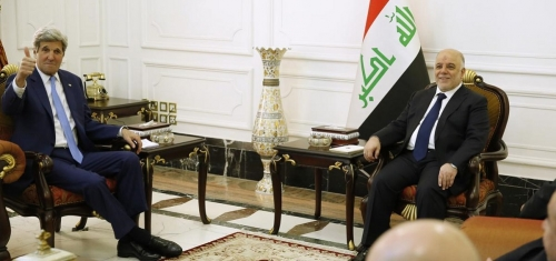 كيري للعبادي: ندعم العراق ضد الارهاب وبقوة لتجاوز تحديه المالي